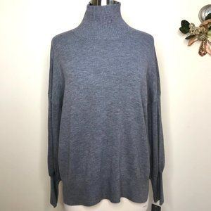 French Connection Mock Neck Puff Sleeve Sweater Grey Size Small NWT